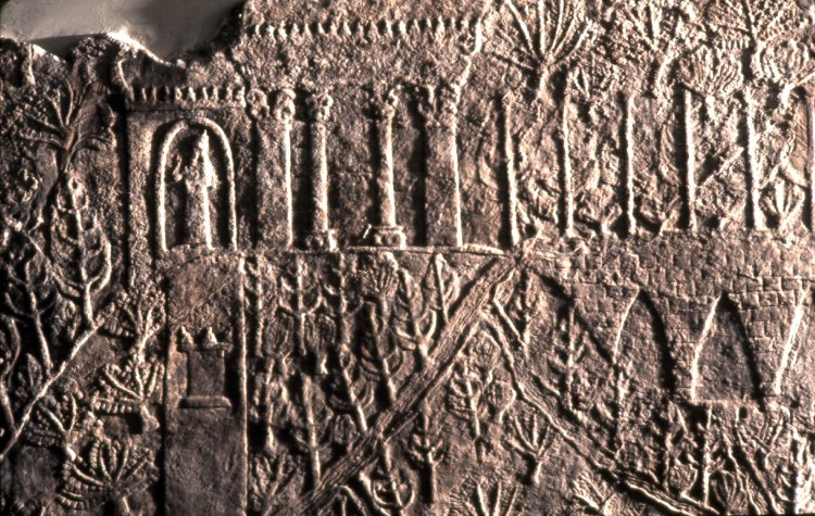 This Assyrian relief from Nineveh (now housed at the British Museum) shows trees hanging in the air on terraces and plants suspended on stone arches that resemble those from Sennacherib's waterways, supporting the idea that the Hanging Gardens of Babylon were actually located at Nineveh.